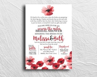 Bridal Shower Invitation, Across the Miles Shower, Long Distance, Poppies Bridal Shower, Printable Invitation