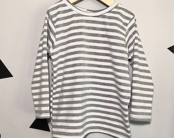 Grey and white long sleeve tee, monochrome baby tee, monochrome long sleeve shirt, monochrome baby shirt, grey baby tee, grey long sleeve