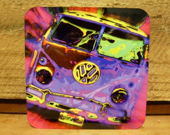 95mm COASTER/FRIDGE MAGNET - Psychedelic Kombi
