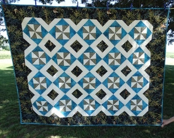 """Lap Quilt in Teal and Black colors,  56""""w x 72""""h"""
