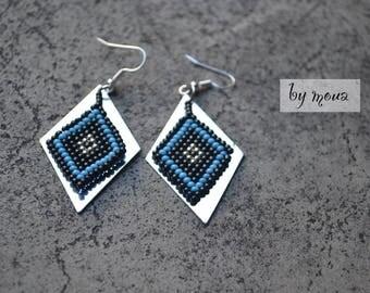 Dangling earrings, seed beads woven diamonds