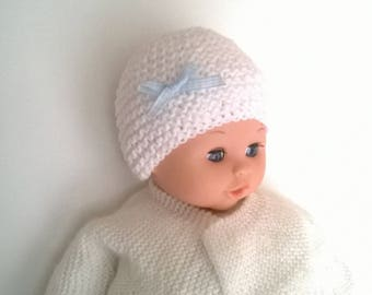 Woolen Hat newborn girl White Blue Ribbon and white gingham checkered knit 0/1 month baby