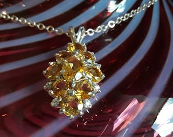Sterling silver with multiple yellow topaz stones pendant with Sterling silver chain
