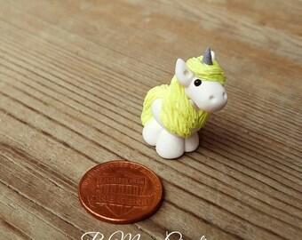 Glittery Yellow & White Unicorn Charm! - Small