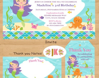 Mermaid Birthday Invitations  and more... DIGITAL FILE (S) UPRINT