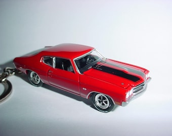 3D 1970 Chevrolet Chevelle SS custom keychain by Brian Thornton keyring key chain finished in Red/Black color trim metal body jack reacher