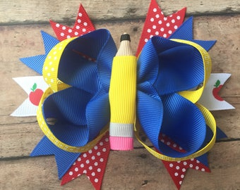 Pencil Bow - Pencil Hair Bow - Back to School Hairbow - School Bow - School Hair Bow - School Hairbow - School Girl Hairbow - School Bows