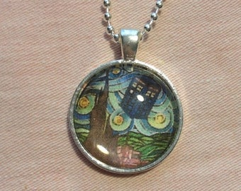 Doctor Who Tardis Van Gogh Art Pendant and Chain Necklace- Original Painting and Glass Top