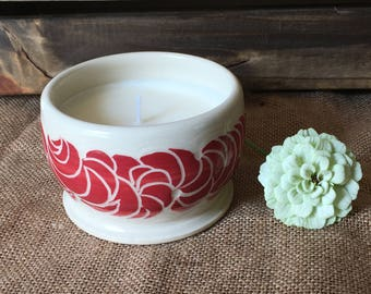 Ceramic Container Candle with Unscented Soy Wax • Soy Wax Candle in Handmade Ceramic Candleholder • Red and White Handmade Soy Wax  Candle
