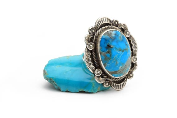 BRAND NEW! Size 7.5 Lg Genuine Natural Navajo Handmade Turquoise & Sterling Silver Ring Native American jewelry, bohemian beach wedding.