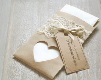 Happy tears-handkerchiefs vintage-with heart with lace