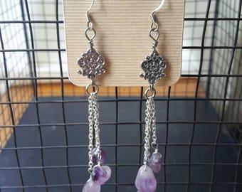 Amethyst stone dangle ornate earrings