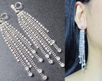 Chandelier Crystal Clip On earrings |31A| Wedding Clip Earrings Bridal Clip on Earrings Clear Rhinestone Clip-ons Dangle Clip on Earrings