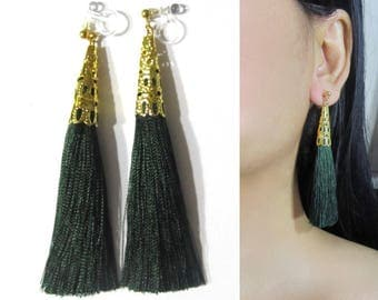 Green Tassel Clip-On Earrings |35F| Dangle Long Clip Earring, Gold Filigree Clip-ons, Boho Wedding Bridal Clip On Non Pierced Earrings