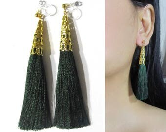Green Tassel Clip-On Earrings |35F| Dangle Long Clip Earring, Gold Filigree Clip-ons, Boho Wedding Bridal Clip On Non Pierced Earrings