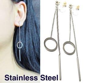 Geometric Modern Clip On Earrings |29H| Dangle Boho Clip On Earrings Silver Bar Long Chain Threader Circle Halo Invisible Clip-ons Earrings