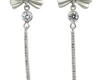 Bow tassel flashing crystal earrings