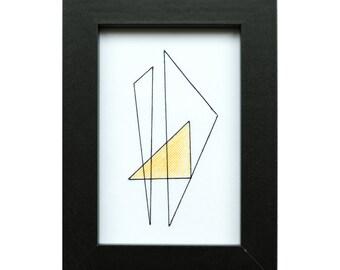 Hand Sewn Geometric Art, Triangle, Black Frame
