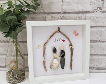 "Framed Pebble Art ""I Do"", Wedding Pebble Picture, Wedding Gift, Personalised Wedding Picture, Housewarming Gift, Newlyweds Gift, Wedding Art"