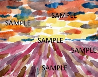 Abstract Sunrise Watercolor Painting DIGITAL DOWNLOAD