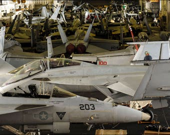 Poster, Many Sizes Available; F-18 Super Hornets In Hangar Bay Uss Nimitz (Cvn-68)
