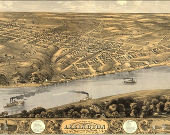 Poster, Many Sizes Available; Birdseye View Map Of Lexington, Missouri 1869