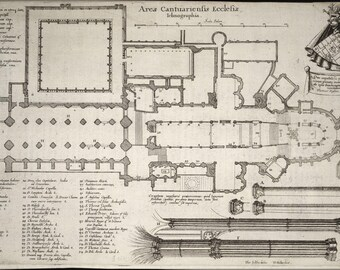 Poster, Many Sizes Available; Canterbury Cathedral Floor Plan 17Th Century