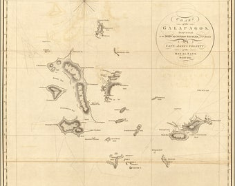 Poster, Many Sizes Available; Map Chart Of The Galapagos Islands 1798