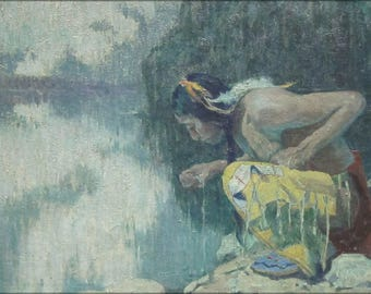 Poster, Many Sizes Available; 'Indian Drinking From A Lake' By Eanger Irving Couse, Cincinnati Art Museum
