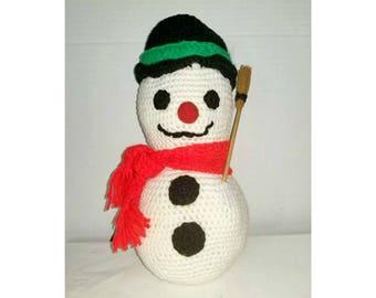 Vintage Crocheted Snowman,Frosty the Snowman,Vintage Christmas,Christmas Decor,Kawaii,Snowmen,Kitschmas,Kitschy Cute,Snowman,Snowmen,1970s