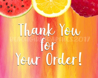 """Fresh Fruit """"Thank You For Your Order"""" Postcards"""