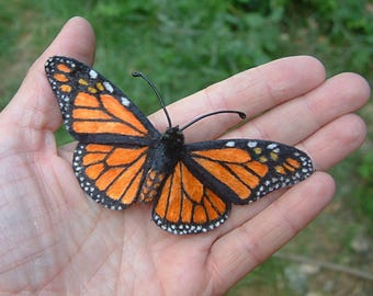"Chenille velvet ""Monarch"" hand-painted butterfly hair barrette (cruelty free!)"