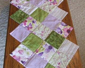 Quilted Table Topper Hand-Sewn Table Runner, Purple Table Runner, Green Table Runner, Diamond Table Runner, Spring/Summer Table Runner