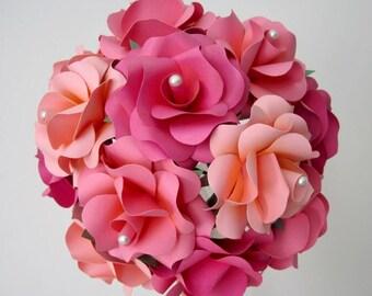Paper Flower Bouquet, Paper Bouquet, Pink Bouquet, Pink Rose Bouquet, Paper Wedding Bouquet, Paper Rose Bouquet, Pink Wedding Bouquet, 14 PC