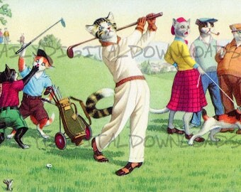 Retro Cats Golfing Sports Anthro Furry Greeting Card Postcard Illustration Graphic Design Art Digital Download