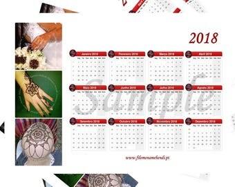 Calendar, Goals Planner, Wall planner, 2018 year planner, Printable, Life Organizer, Business Planner, For print, Henna art, Home decor