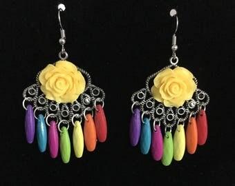 Rainbow Earrings, Flower Earrings, Dangle Earrings, Yellow Rose Earrings, Colorful Earrings , Valentine's Day Gift, Vintage Inspired