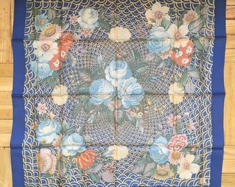 Vintage Liberty London Navy Floral Silk Scarf