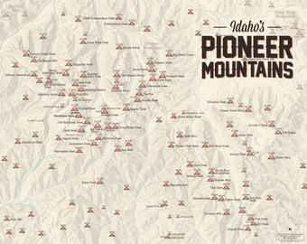 Pioneer Mountains (Idaho) Climbers' Map 11x14 Print