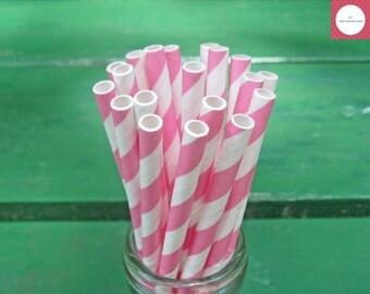 ON SALE Paper Straws, 50 Pink Straws, Party Straws, Pink and White Straws, Striped Paper Straws, Pink Paper Straws, Party Supplies, Pink Dec