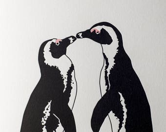 Christmas card for wife - Wedding card - First Anniversary her - Valentines Day card - African Kiss - penguin love - Anniversary