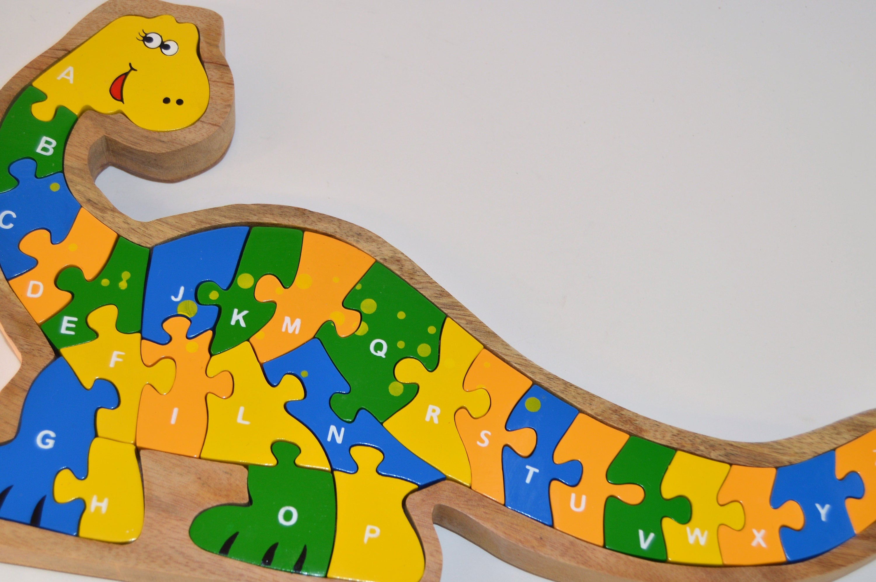 Smiling Dinosaur puzzle Wooden Puzzle with letters toddler ts
