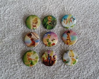 Set of 9 badges Tinker Bell / tinkerbell