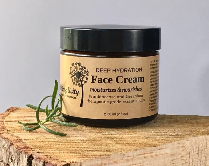 Organic Face Cream with therapeutic grade Frankincense and Geranium essential oils, face moisturizer, 2oz glass jar, Vegan