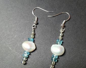 Labradorite, Apatite and Pearl Sterling silver earrings