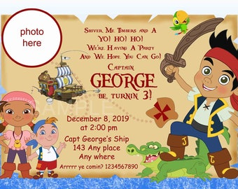 Jake and the Neverland Pirate Invitations, Pirate Invitation. Jake Invites. Izzy Invites. Digital (you print)