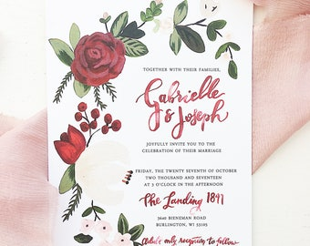 Burgundy, Cream, and Blush Floral & Berries Wedding Invitation