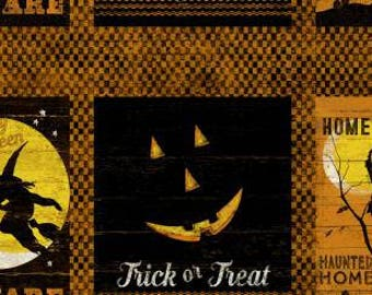 Clothworks - Halloween - Jeepers Creepers - Y1912-36 - Panel - Pumpkin - Witch - Black - Orange - Yellow - Jack-O-Lanterns - Novelty - Fall