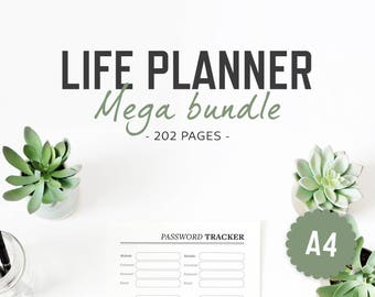 Life Planner / A4 / Life Binder Inserts Life Organizer Printable Binder Inserts Mega Bundle Home Household Finances Work / INSTANT DOWNLOAD