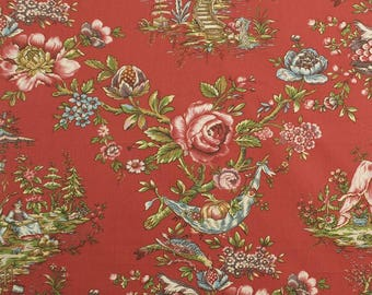 DESIGNER CHINOISERIE Courting Couples TOILE Fabric 5 Yards Red Burgundy Green Blue Multi